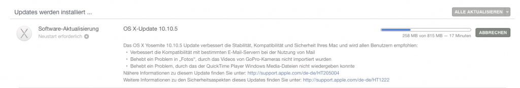 OS X Yosemite 10.10.5 Update IT-Problemloesung
