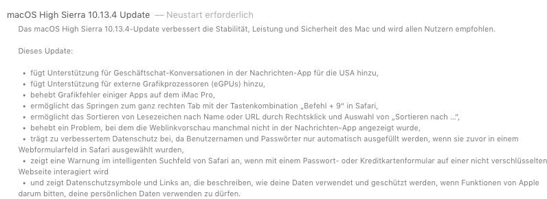 macOS High Sierra 10.13.4 Update