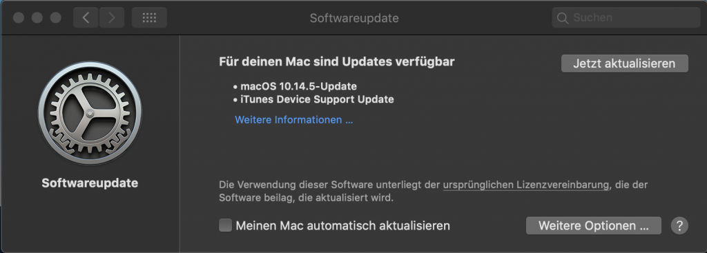 macOS Mojave 10.14.5 - Update IT-Problemloesung
