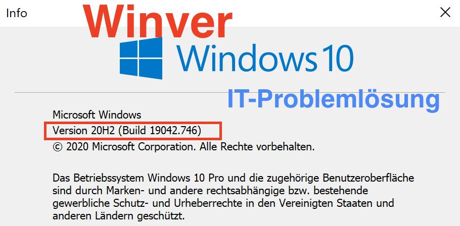 Windows 10 Version herausfinden Winver